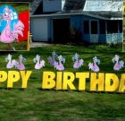 Yard Card – Birthday Flamingos